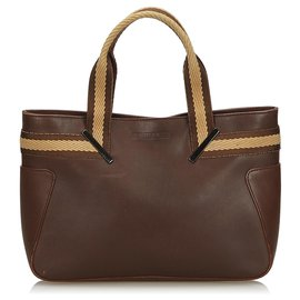Gucci-Gucci Brown Web Leather Handbag-Brown,Dark brown