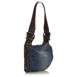 Fendi-Fendi Blue Denim Oyster Shoulder Bag-Brown,Blue,Dark brown