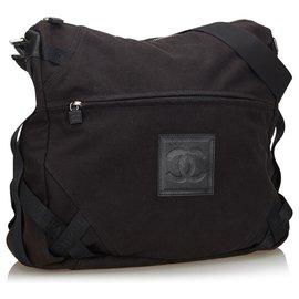 Chanel-Chanel Black CC Canvas Sports Line Crossbody Bag-Black