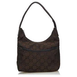 Gucci-Gucci Brown GG Canvas Shoulder Bag-Brown,Dark brown