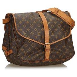 Louis Vuitton-Louis Vuitton Brown Monogram Saumur 35-Brown