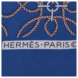 Hermès-Hermes Blue Printed Silk Scarf-Blue,Multiple colors