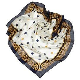 Dior-Dior White Printed Silk Scarf-White,Multiple colors