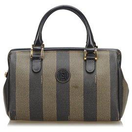Fendi-Fendi Black Pequin Mini Boston Bag-Brown,Black