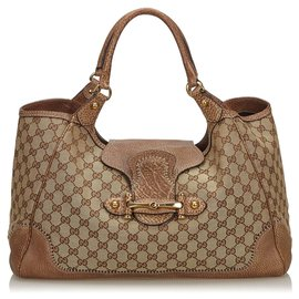 Gucci-Gucci Brown Guccissima New Pelham Hobo-Brown,Beige,Dark brown