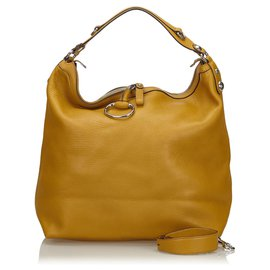 Gucci-Gucci Yellow Icon Bit Leather Shoulder Bag-Yellow