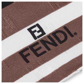 Fendi-Fendi White Zucca Silk Scarf-White,Multiple colors