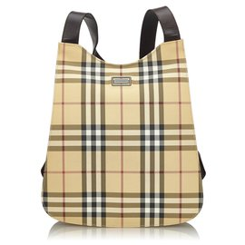 Burberry-Burberry Brown House Check Backpack-Brown,Multiple colors,Beige