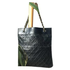 """Chanel-""""Business"""" tote bag / leather top stitched CHANEL brown-Brown"""