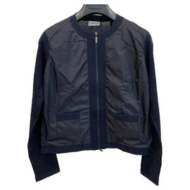 Moncler-Zip cardigan in navy blu colour-Navy blue