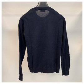 Moncler-Navy blu cotton tricot cardigan-Navy blue