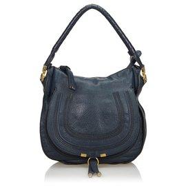 Chloé-Chloe Blue Leather Marcie Handbag-Blue