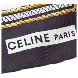 Céline-Celine White Messageries et Diligences Silk Scarf-White,Multiple colors