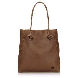 Gucci-Sac cabas en cuir marron Gucci-Marron