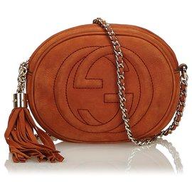 Gucci-Sac bandoulière à chaîne Soho Mini en cuir nubuck marron brun-Marron