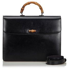 Gucci-Porte-documents en cuir noir et bambou Gucci-Noir