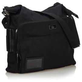 Gucci-Sac à bandoulière en nylon noir Gucci-Noir
