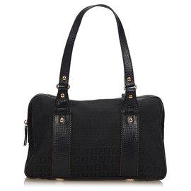 Fendi-Fendi Black Zucchino Canvas Business Bag-Black