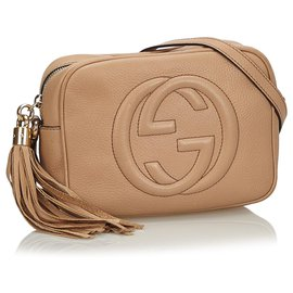 Gucci-Gucci Brown Leather Soho Disco Crossbody Bag-Brown,Beige