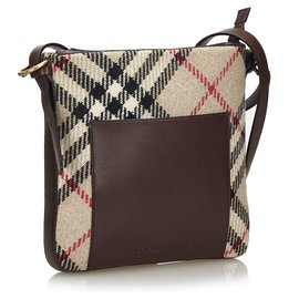 Burberry-Burberry Brown Nova Check Wool Crossbody Bag-Brown,Multiple colors,Beige