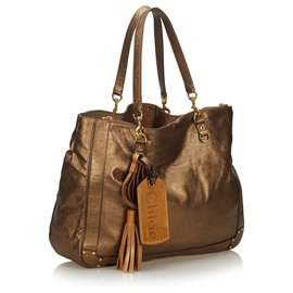 Chloé-Chloe Brown Metallic Leather Eden Tote Bag-Brown,Bronze