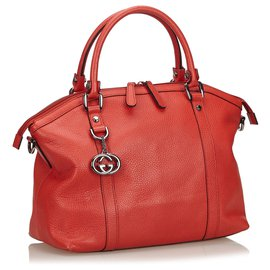 Gucci-Gucci Red Dome Convertible GG Charm Leather Tote-Red