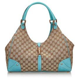 Gucci-Gucci Brown GG Canvas Nailhead Jackie Sac à bandoulière-Marron,Bleu,Beige,Bleu clair