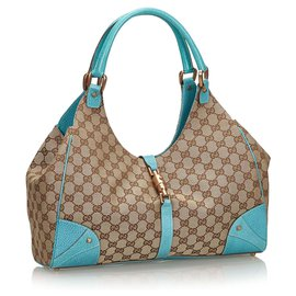 Gucci-Gucci Brown GG Canvas Nailhead Jackie Shoulder Bag-Brown,Blue,Beige,Light blue