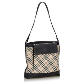 Burberry-Burberry Brown Nova Check Canvas Shoulder Bag-Brown,Multiple colors,Beige
