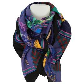 Hermès-Hermès shawl-Navy blue