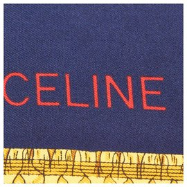 Céline-Celine Blue Printed Silk Scarf-Blue,Multiple colors,Navy blue