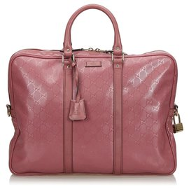 Gucci-Gucci Pink Imprime Business Bag-Pink,Other