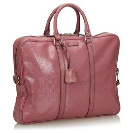 Gucci-Gucci Pink Imprime Business Bag-Rose,Autre