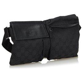 Gucci-Gucci Black GG Sac de ceinture en toile-Noir