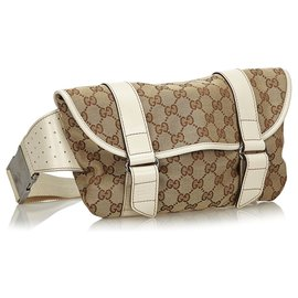 Gucci-Gucci Brown GG Sac de ceinture en toile-Marron,Blanc,Beige