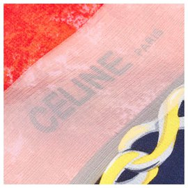 Céline-Celine Blue Printed Silk Scarf-Blue,Navy blue