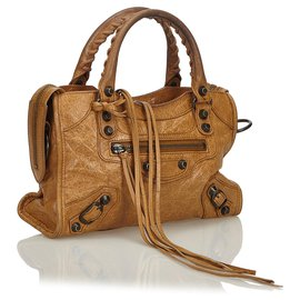 Balenciaga-Balenciaga Brown Leather Motocross Giant City Satchel-Brown,Light brown