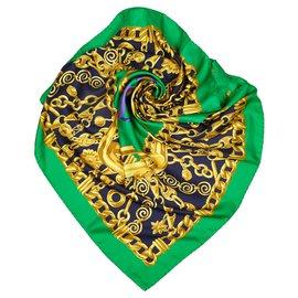 Céline-Celine Green Printed Silk Scarf-Multiple colors,Green