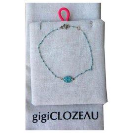 Autre Marque-BRACELET OR GRIS/RÉSINE/CROIX-Turquoise