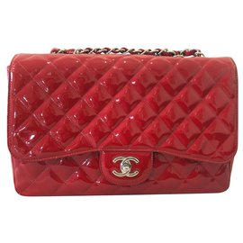 Chanel-CHANEL RED PATENT QUILTED JUMBO LARGE SINGLE FLAP BAG-Red