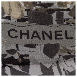 Chanel-Chanel Gray Printed Silk Scarf-Multiple colors,Other,Grey
