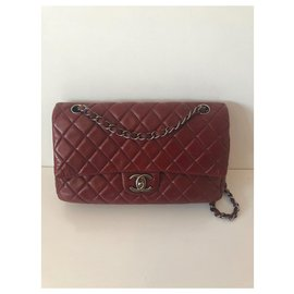 Chanel-classical-Dark red