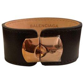 Balenciaga-Bracelet padlock Balenciaga en cuir noir et attaché doré beuf-Noir,Doré
