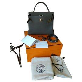 Hermès-hermes kelly 28 Retourne Togo Gris & Noir avec Argent HW-Gris
