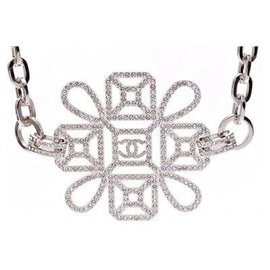 Chanel-Chanel Rhinestone Necklace-Silvery