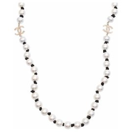 Chanel-Collier de perles Chanel-Blanc