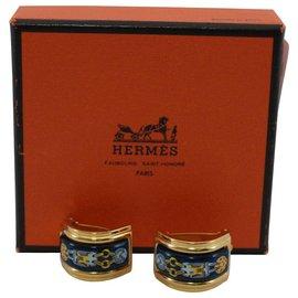 Hermès-Boucles d'oreilles Hermès en or-Doré