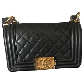 Chanel-Chanel Boy Quilted Small Flap Le Black/Gold Calfskin Leather Shoulder Bag-Black
