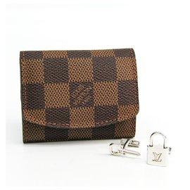 Louis Vuitton-Louis Vuitton Silver Padlock and Key Logo Cufflinks-Silvery
