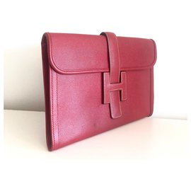 Hermès-Hermes Clutch Jige Courchevel Red-Red